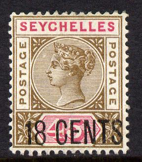 Seychelles 1896 QV surcharged 18c on 45c brown & carmine mounted mint SG 26
