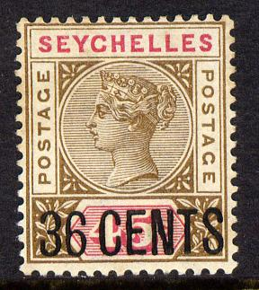Seychelles 1896 QV surcharged 36c on 45c brown & carmine mounted mint SG 27