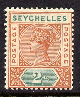 Seychelles 1897-1900 QV Key Plate Crown CA die II - 2c orange-brown & green mounted mint SG 28