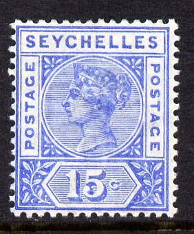 Seychelles 1897-1900 QV Key Plate Crown CA die II - 15c ultramarine mounted mint SG 30
