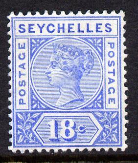 Seychelles 1897-1900 QV Key Plate Crown CA die II - 18c ultramarine mounted mint SG 31