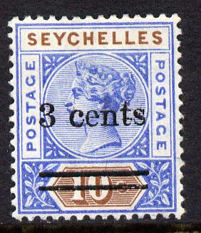 Seychelles 1901 QV surcharged 3c on 10c ultramarine & brown mounted mint SG 37