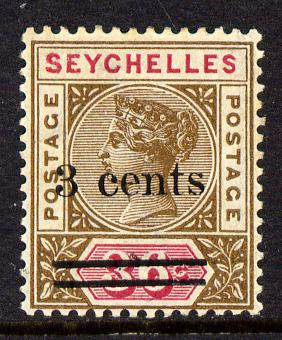 Seychelles 1901 QV surcharged 3c on 36c brown & carmine mounted mint SG 39