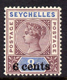 Seychelles 1901 QV surcharged 6c on 8c brown-purple & blue mounted mint SG 40