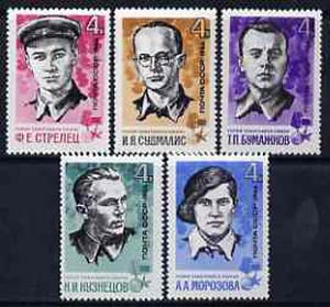 Russia 1966 War Heroes (Guerilla Fighters) set of 5 unmounted mint, SG 3292-96, Mi 3213-17*