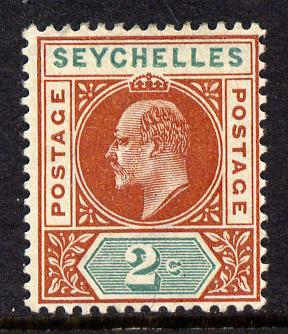 Seychelles 1903 KE7 Crown CA 2c chestnut & green mounted mint SG 46