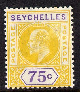 Seychelles 1903 KE7 Crown CA 75c yellow & violet mounted mint SG 54