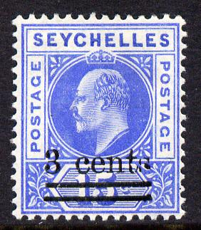 Seychelles 1903 KE7 surcharged 3c on 15c ultramarine mounted mint SG 57