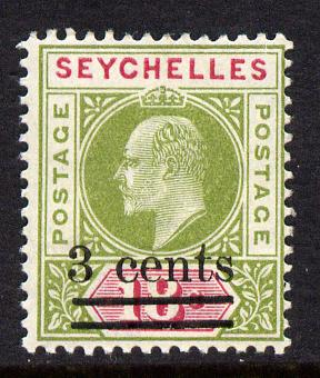 Seychelles 1903 KE7 surcharged 3c on 18c sage-green & carmine mounted mint SG 58