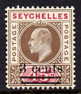 Seychelles 1903 KE7 surcharged 3c on 45c brown & carmine mounted mint SG 59