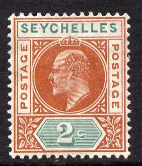 Seychelles 1906 KE7 MCA 2c chestnut & green mounted mint SG 60