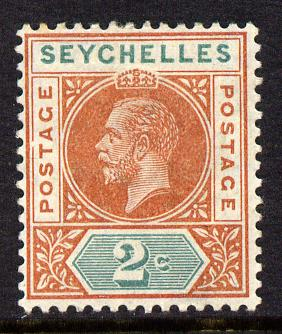 Seychelles 1912-16 KG5 MCA 2c chestnut & green mounted mint SG 71