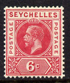 Seychelles 1912-16 KG5 MCA 6c carmine-red mounted mint SG 73