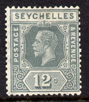 Seychelles 1917-22 KG5 MCA die I - 12c grey mounted mint SG 86