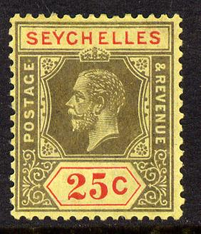 Seychelles 1917-22 KG5 MCA die I - 25c black & red on buff mounted mint SG 89