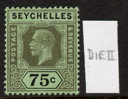 Seychelles 1917-22 KG5 MCA die II - 75c black on emerald mounted mint SG 93a