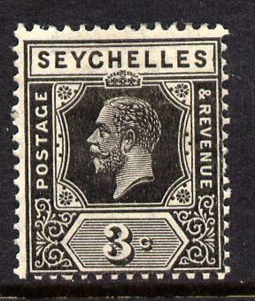 Seychelles 1921-32 KG5 Script CA die II - 3c black mounted mint SG 100