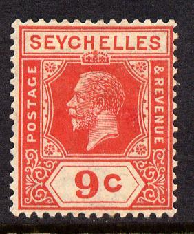 Seychelles 1921-32 KG5 Script CA die II - 9c red mounted mint SG 106