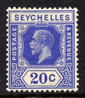 Seychelles 1921-32 KG5 Script CA die II - 20c bright blue mounted mint SG 113