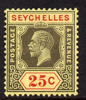 Seychelles 1921-32 KG5 Script CA die II - 25c black & red on yellow mounted mint SG 114