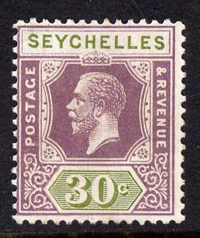 Seychelles 1921-32 KG5 Script CAA die II - 30c dull purple & olive mounted mint SG 115