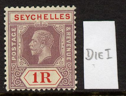 Seychelles 1921-32 KG5 Script CA die I - 1r dull purple & red mounted mint SG 119a