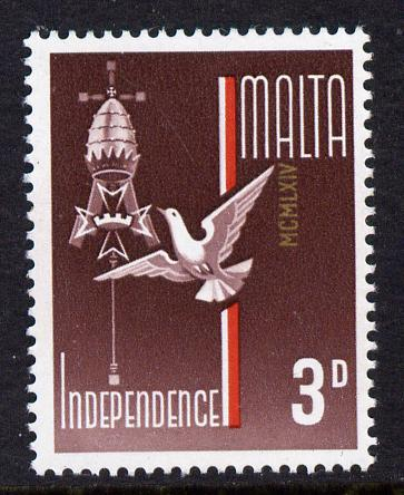 Malta 1964 Independence 3d single with date just touching the A of Malta - appears due to a downwards shift of 21 mm (see 151,198 for marginal strp) unmounted mint SG 322var