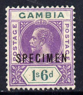 Gambia 1912-22 KG5 MCA 1s6d violet & green overprinted SPECIMEN fine with gum and only about 400 produced SG 98s