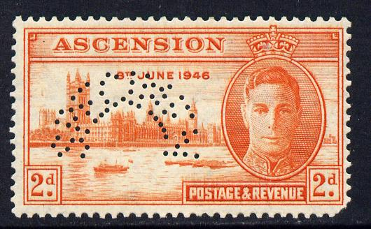 Ascension 1946 Victory 2d red-orange perforated SPECIMEN with gum but rounded corner and only about 400 produced SG 48s