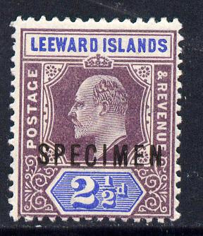 Leeward Islands 1902 KE7 Crown CA 2.5d dull purple & ultramarine overprinted SPECIMEN fine with gum and only about 730 produced SG 23s