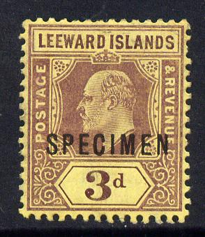 Leeward Islands 1907-11 KE7 MCA 3d purple on yellow overprinted SPECIMEN fine with gum and only about 400 produced SG 41s