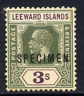 Leeward Islands 1921-32 KG5 Script CA 3s bright green & violet overprinted SPECIMEN fine with gum and only about 400 produced SG 76s