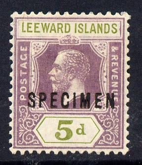 Leeward Islands 1921-32 KG5 Script CA 5d dull purple & olive-green overprinted SPECIMEN fine with gum and only about 400 produced SG 71s