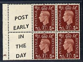Great Britain 1937 KG6 1.5d red-brown booklet pane od 4 plus 2 labels (Post Early/ In the day)  with cylinder number (G)46 lightly mounted with reasonable perfs SG QB23(1...