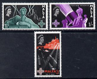 Malta 1958 George Cross Commemoration set of 3 unmounted mint SG 289-91, stamps on medals, stamps on  ww2 , stamps on