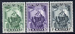 Malta 1951 Seventh Centenary of the Scapular set of 3 unmounted mint SG 258-60