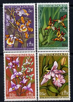 British Honduras 1968 20th Anniversary of Economic Commission - Orchids set of 4 unmounted mint SG 250-53