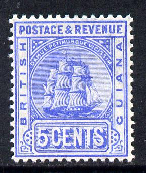 British Guiana 1907-10 MCA Ship Type 5c ultramarine unmounted mint SG 255, stamps on , stamps on  ke7 , stamps on ships