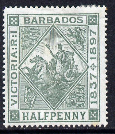 Barbados 1897-98 Diamond Jubilee 1/2d dull green mounted mint SG 117