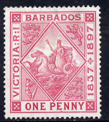 Barbados 1897-98 Diamond Jubilee 1d rose mounted mint SG 118