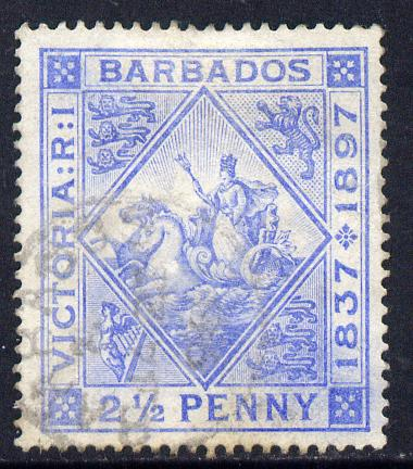 Barbados 1897-98 Diamond Jubilee 2.5d ultramarine mounted mint SG 119