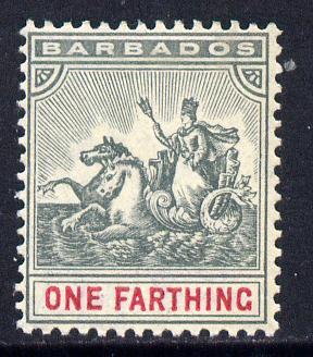 Barbados 1905 Britannia MCA 1/4d slate-grey & carmine mounted mint SG 135