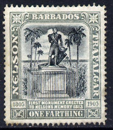 Barbados 1906 Nelson Centenary Crown CC 1/4d black & grey mounted mint SG 145