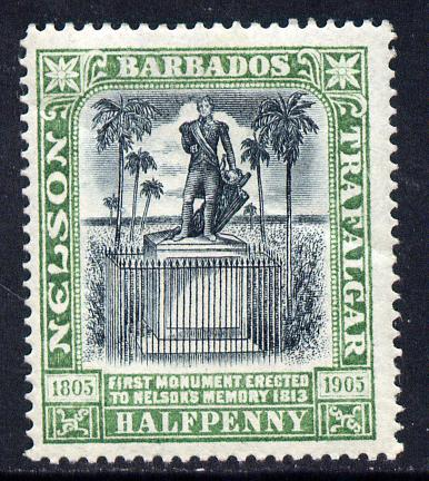 Barbados 1906 Nelson Centenary Crown CC 1/2d black & green mounted mint SG 146