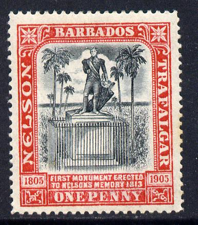 Barbados 1906 Nelson Centenary Crown CC 1d black & red mounted mint SG 147