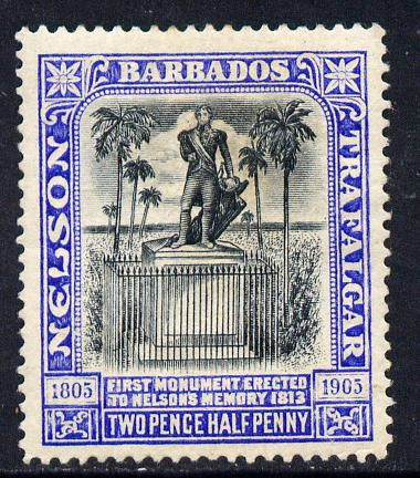 Barbados 1906 Nelson Centenary Crown CC 2.5d black & blue mounted mint SG 149