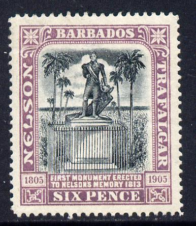 Barbados 1906 Nelson Centenary Crown CC 6d black & mauve mounted mint SG 150