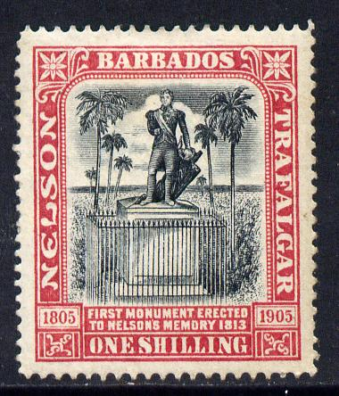 Barbados 1906 Nelson Centenary Crown CC 1s black & rose mounted mint SG 151