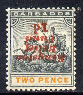 Barbados 1907 Kingston Relief Fund 1d on 2d (inverted) mounted mint SG 153