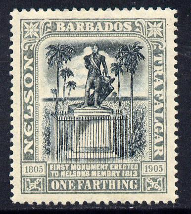 Barbados 1907 Nelson Centenary MCA 1/4d black & grey mounted mint SG 158